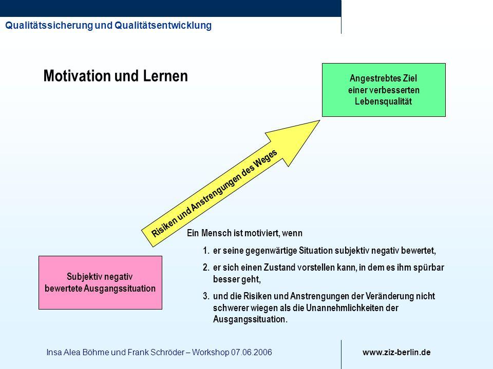 Qualitätssicherung und Qualitätsentwicklung www.ziz-berlin.de Insa Alea Böhme und Frank Schröder – Workshop 07.06.2006 Risiken und Anstrengungen des W