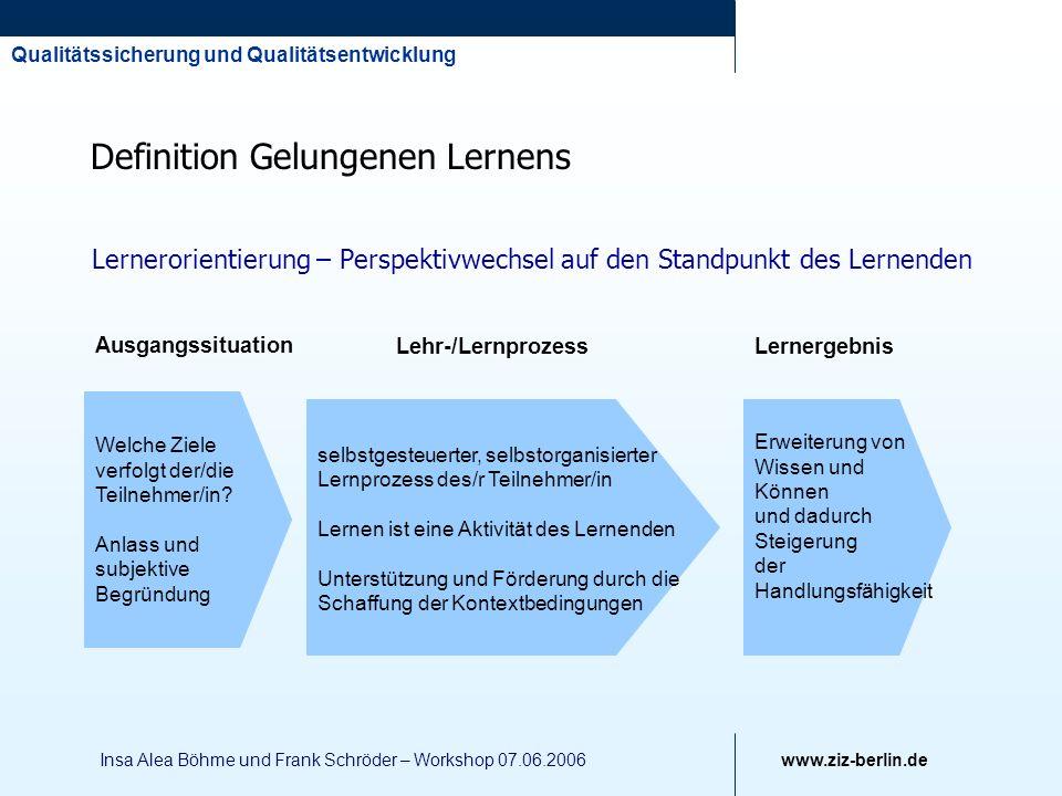 Qualitätssicherung und Qualitätsentwicklung www.ziz-berlin.de Insa Alea Böhme und Frank Schröder – Workshop 07.06.2006 Definition Gelungenen Lernens L