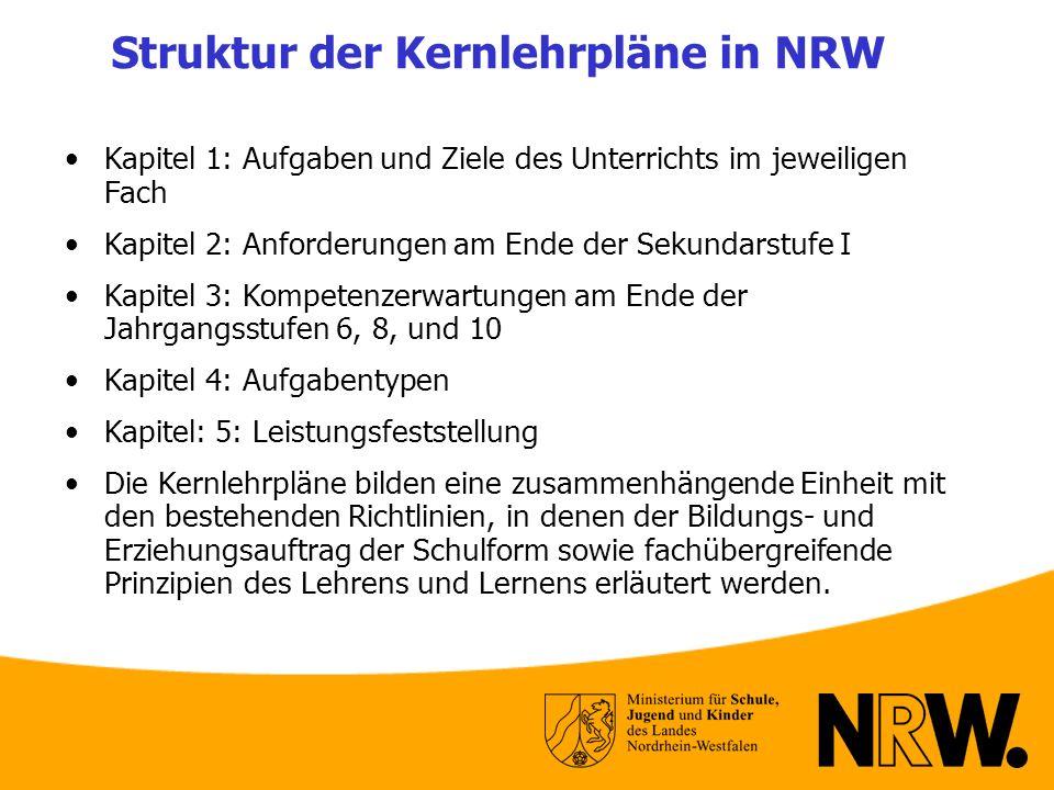 Struktur der Kernlehrpläne in NRW Kapitel 1: Aufgaben und Ziele des Unterrichts im jeweiligen Fach Kapitel 2: Anforderungen am Ende der Sekundarstufe