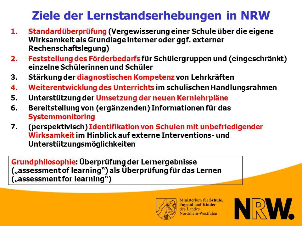 Ziele der Lernstandserhebungen in NRW 1.Standardüberprüfung (Vergewisserung einer Schule über die eigene Wirksamkeit als Grundlage interner oder ggf.