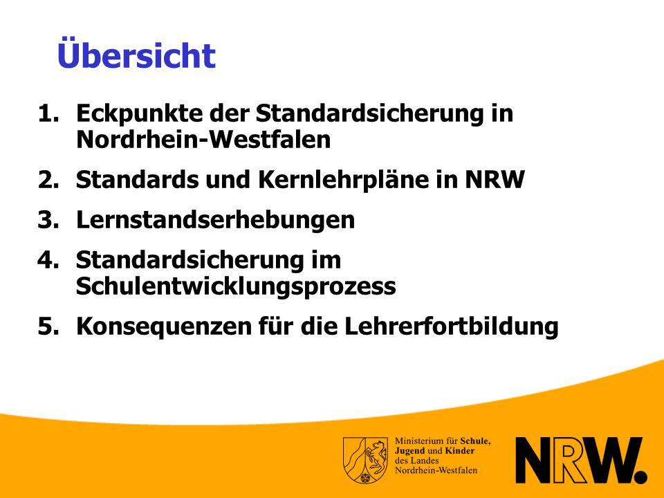 Übersicht 1.Eckpunkte der Standardsicherung in Nordrhein-Westfalen 2.Standards und Kernlehrpläne in NRW 3.Lernstandserhebungen 4.Standardsicherung im