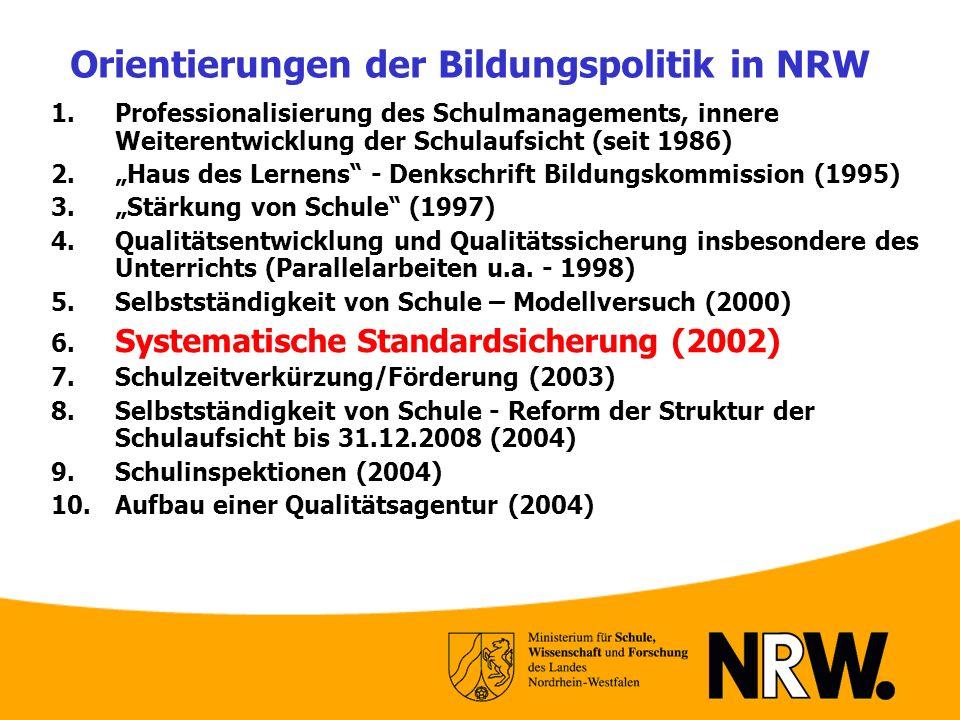 Orientierungen der Bildungspolitik in NRW 1. Professionalisierung des Schulmanagements, innere Weiterentwicklung der Schulaufsicht (seit 1986) 2. Haus