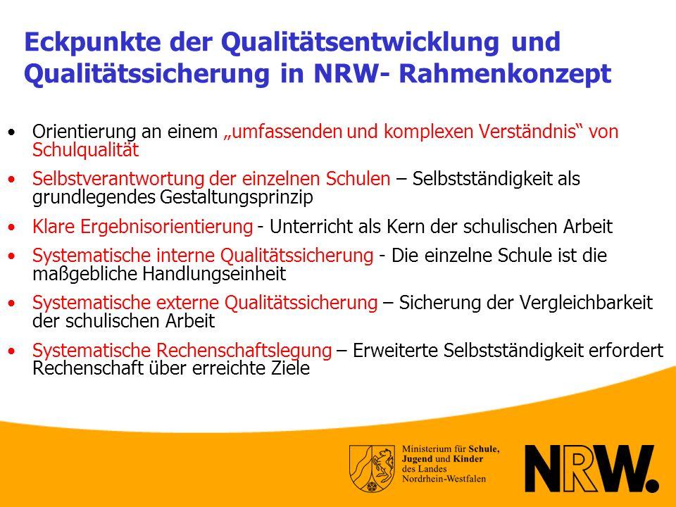 Eckpunkte der Qualitätsentwicklung und Qualitätssicherung in NRW- Rahmenkonzept Orientierung an einem umfassenden und komplexen Verständnis von Schulq