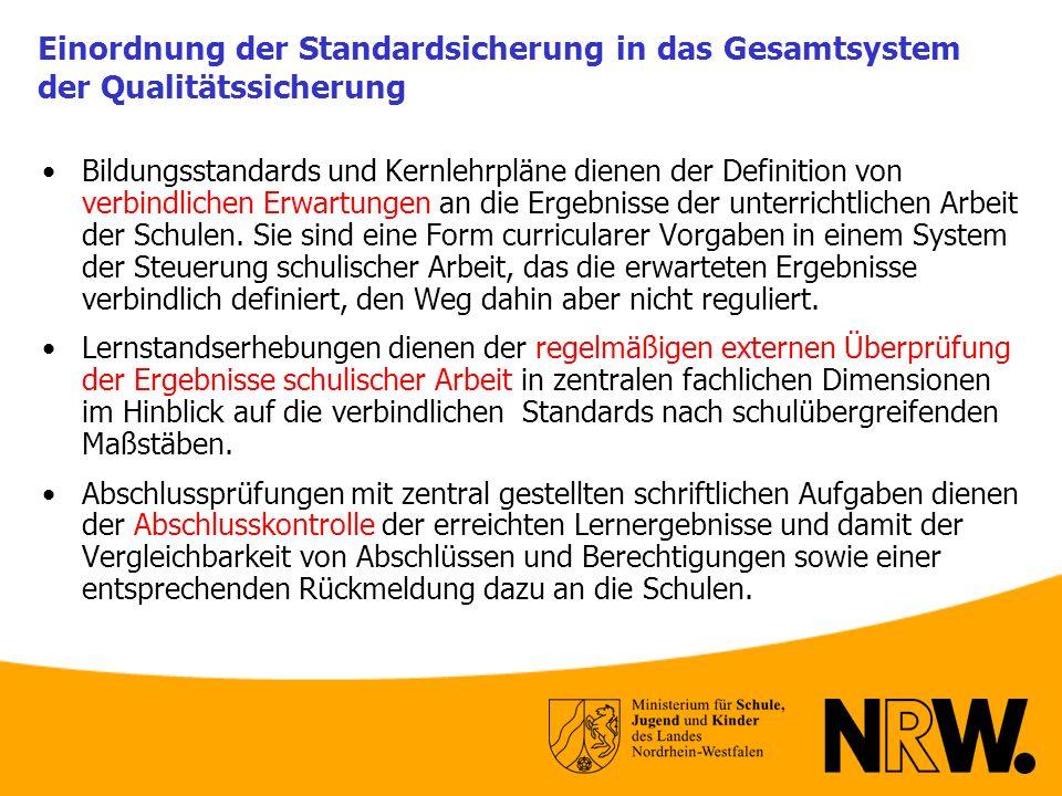 Einordnung der Standardsicherung in das Gesamtsystem der Qualitätssicherung Bildungsstandards und Kernlehrpläne dienen der Definition von verbindliche