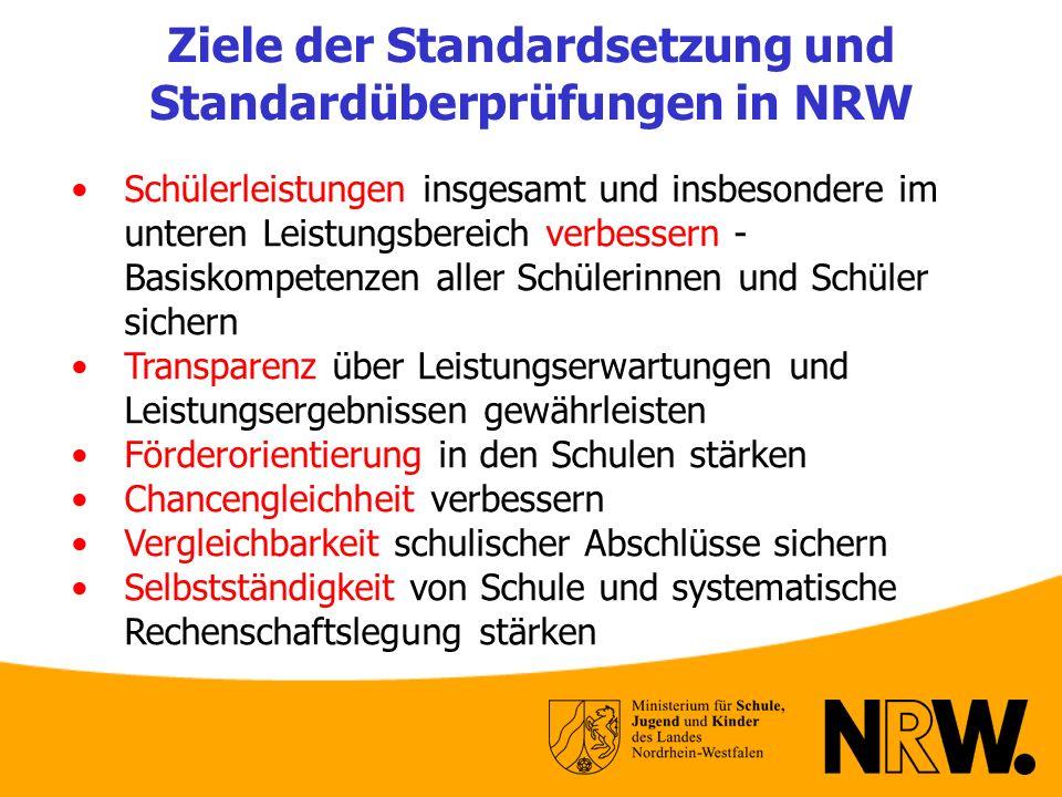 Ziele der Standardsetzung und Standardüberprüfungen in NRW Schülerleistungen insgesamt und insbesondere im unteren Leistungsbereich verbessern - Basis
