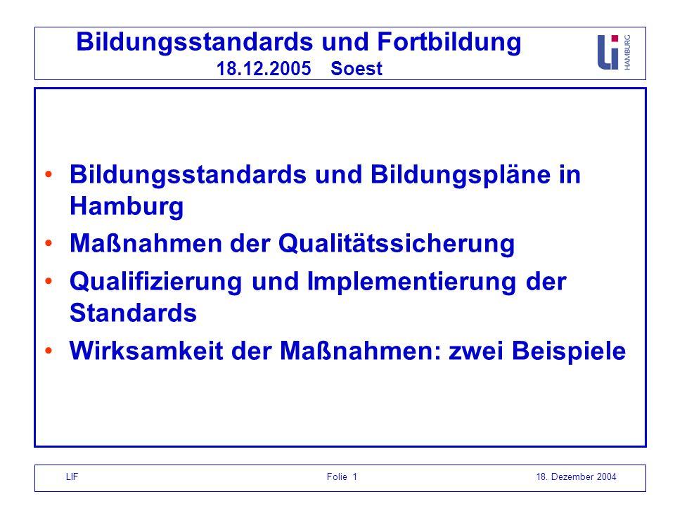 LIF Folie 118. Dezember 2004 Bildungsstandards und Fortbildung 18.12.2005 Soest Bildungsstandards und Bildungspläne in Hamburg Maßnahmen der Qualitäts