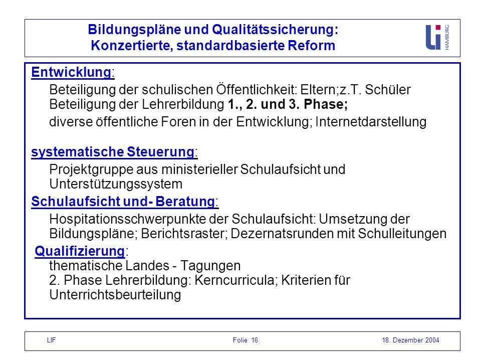 LIF Folie 1618. Dezember 2004 Bildungspläne und Qualitätssicherung: Konzertierte, standardbasierte Reform Entwicklung: Beteiligung der schulischen Öff