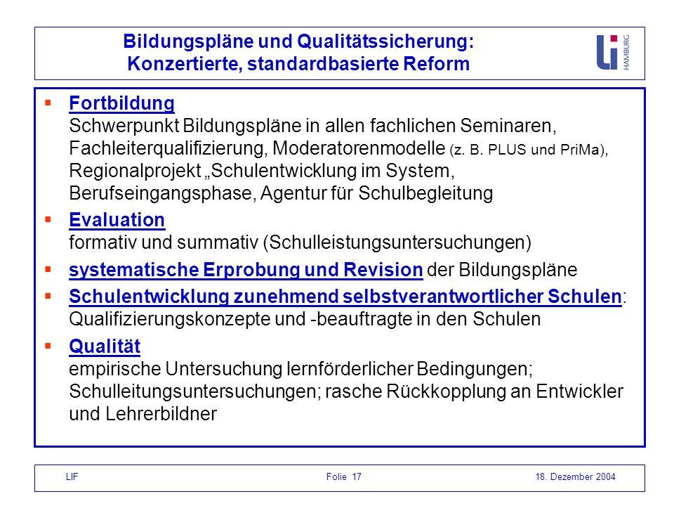 LIF Folie 1718. Dezember 2004 Bildungspläne und Qualitätssicherung: Konzertierte, standardbasierte Reform Fortbildung Schwerpunkt Bildungspläne in all