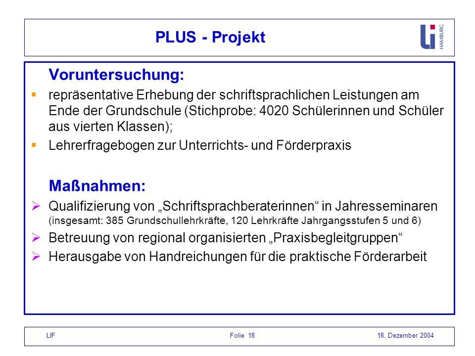 LIF Folie 1818. Dezember 2004 PLUS - Projekt Voruntersuchung: repräsentative Erhebung der schriftsprachlichen Leistungen am Ende der Grundschule (Stic