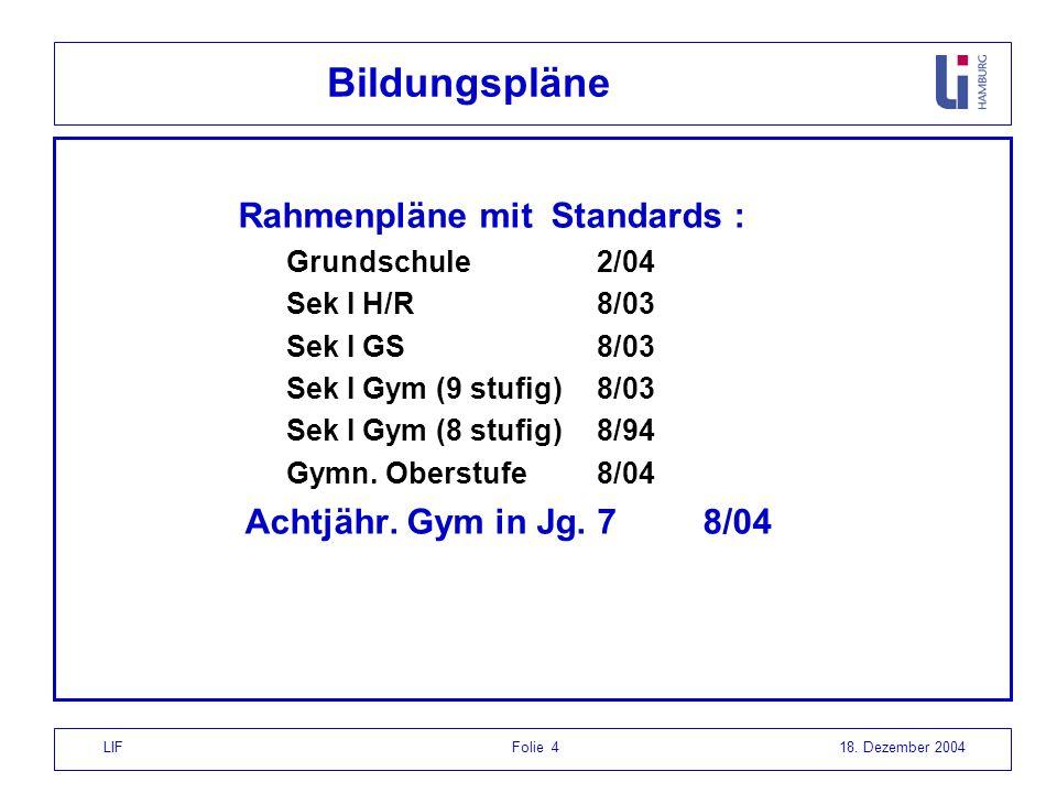 LIF Folie 418. Dezember 2004 Bildungspläne Rahmenpläne mit Standards : Grundschule 2/04 Sek I H/R 8/03 Sek I GS8/03 Sek I Gym (9 stufig) 8/03 Sek I Gy