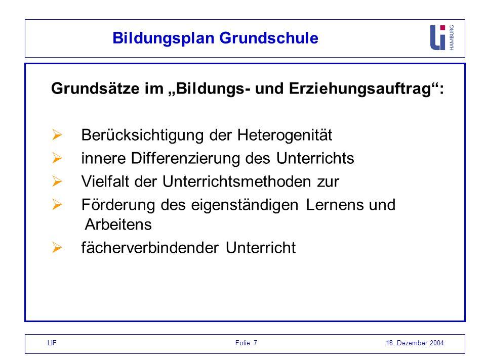 LIF Folie 718. Dezember 2004 Bildungsplan Grundschule Grundsätze im Bildungs- und Erziehungsauftrag: Berücksichtigung der Heterogenität innere Differe