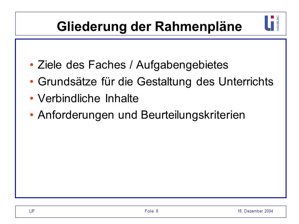 LIF Folie 818. Dezember 2004 Gliederung der Rahmenpläne Ziele des Faches / Aufgabengebietes Grundsätze für die Gestaltung des Unterrichts Verbindliche