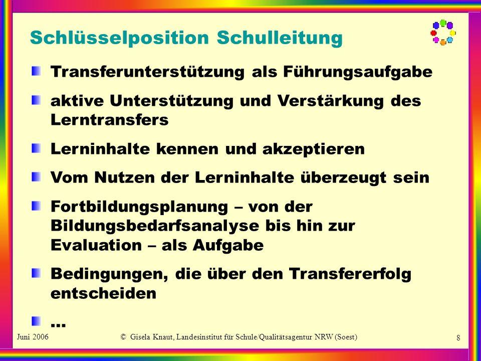 Juni 2006© Gisela Knaut, Landesinstitut für Schule/Qualitätsagentur NRW (Soest) 8 Schlüsselposition Schulleitung Transferunterstützung als Führungsauf