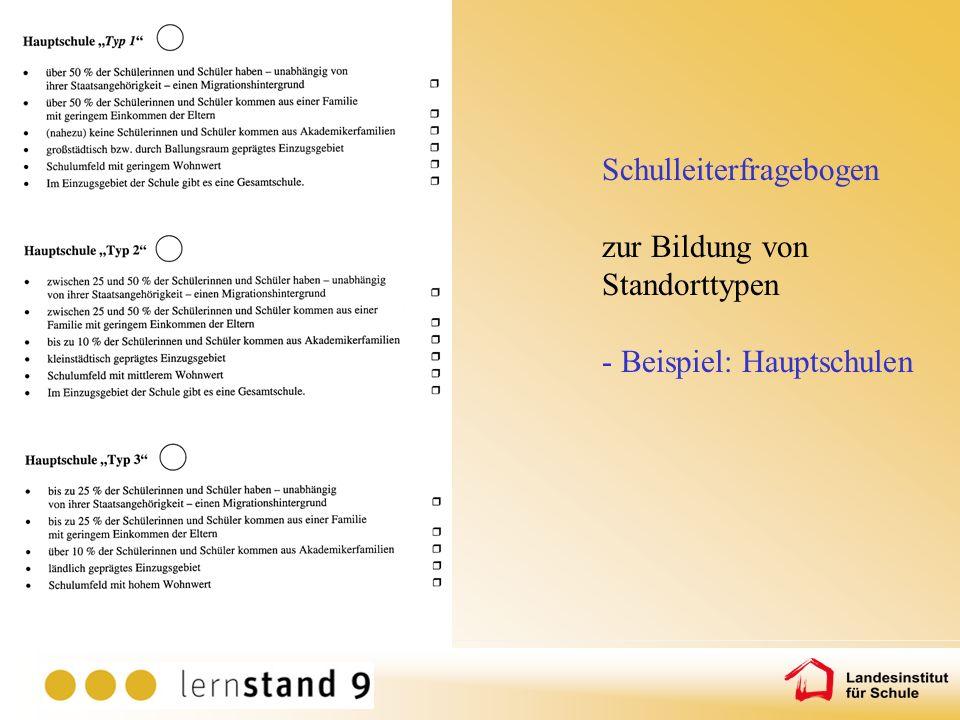 Schulleiterfragebogen zur Bildung von Standorttypen - Beispiel: Hauptschulen