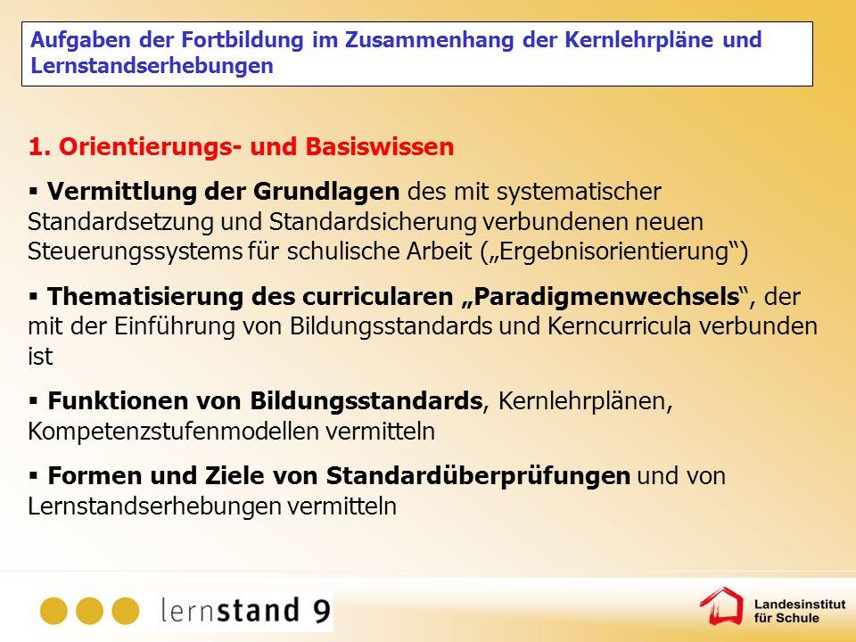 Aufgaben der Fortbildung im Zusammenhang der Kernlehrpläne und Lernstandserhebungen 1. Orientierungs- und Basiswissen Vermittlung der Grundlagen des m