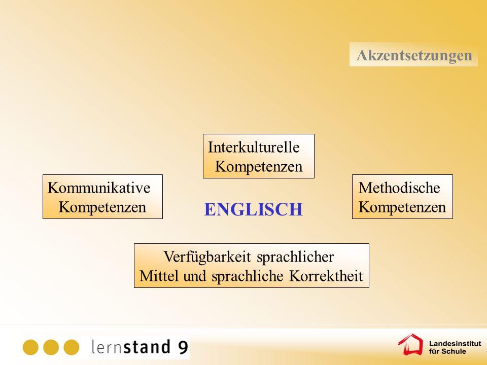 Kommunikative Kompetenzen Verfügbarkeit sprachlicher Mittel und sprachliche Korrektheit Methodische Kompetenzen Interkulturelle Kompetenzen ENGLISCH A
