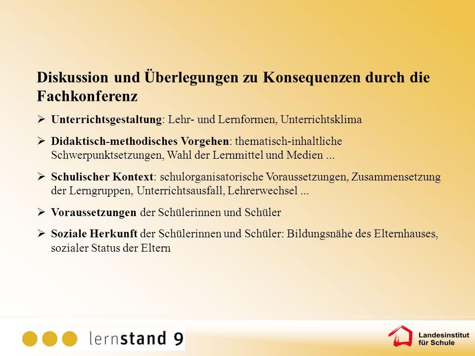 Diskussion und Überlegungen zu Konsequenzen durch die Fachkonferenz Unterrichtsgestaltung: Lehr- und Lernformen, Unterrichtsklima Didaktisch-methodisc