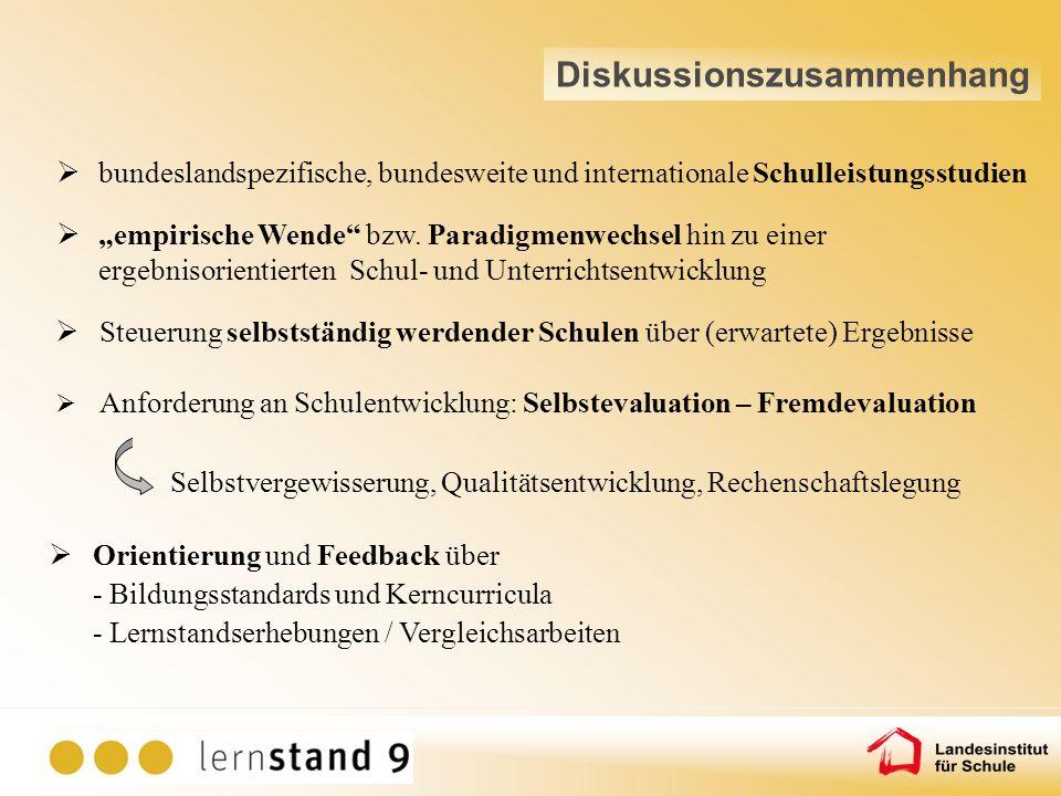 Anforderung an Schulentwicklung: Selbstevaluation – Fremdevaluation Selbstvergewisserung, Qualitätsentwicklung, Rechenschaftslegung Orientierung und F