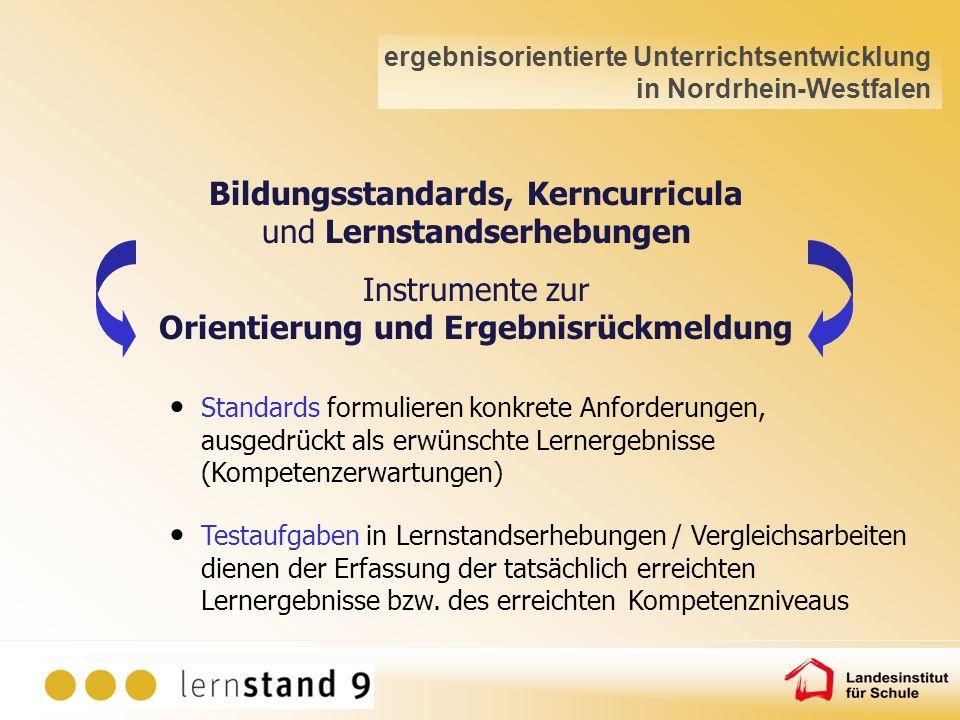 Instrumente zur Orientierung und Ergebnisrückmeldung Bildungsstandards, Kerncurricula und Lernstandserhebungen Standards formulieren konkrete Anforder