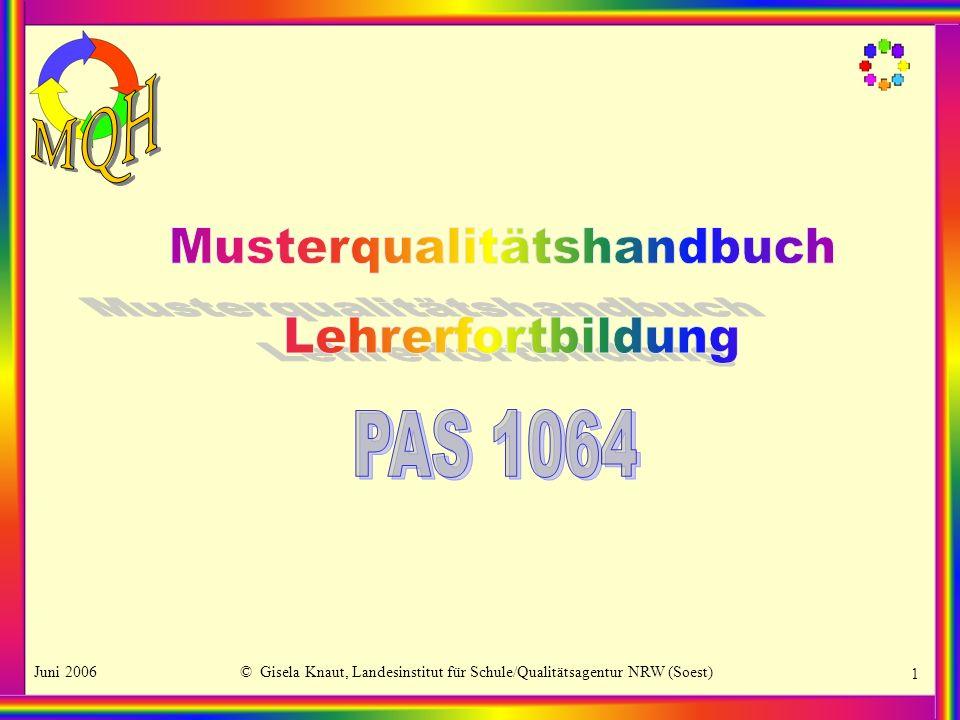 Juni 2006© Gisela Knaut, Landesinstitut für Schule/Qualitätsagentur NRW (Soest) 2 Entstehungsgeschichte und Arbeitsprozess Ziel und Funktion des MQH Aufbau des MQH Qualitätskreis Kriterien – Indikatoren – Standards Qualitätsmanagement in der LFB Musterqualitätshandbuch Lehrerfortbildung