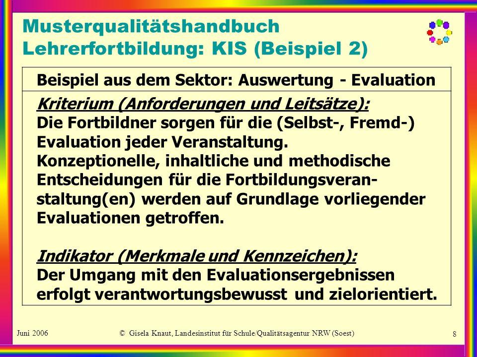 Juni 2006© Gisela Knaut, Landesinstitut für Schule/Qualitätsagentur NRW (Soest) 9 Standards (Anzeiger und Marker): Die Evaluierenden werten die Evaluationsergebnisse auf dem Hintergrund des gesicherten Datenmaterials aus.