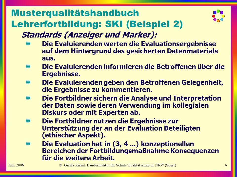 Juni 2006© Gisela Knaut, Landesinstitut für Schule/Qualitätsagentur NRW (Soest) 9 Standards (Anzeiger und Marker): Die Evaluierenden werten die Evalua