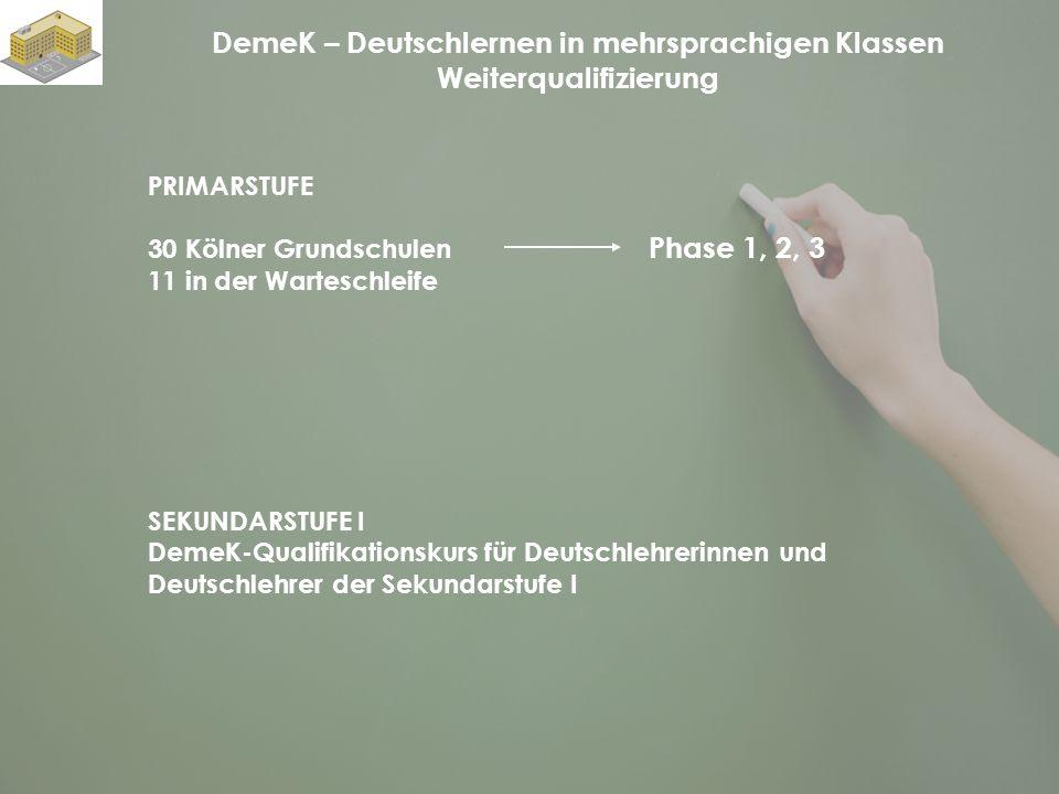 DemeK – Deutschlernen in mehrsprachigen Klassen Weiterqualifizierung PRIMARSTUFE 30 Kölner Grundschulen 11 in der Warteschleife Phase 1, 2, 3 SEKUNDAR