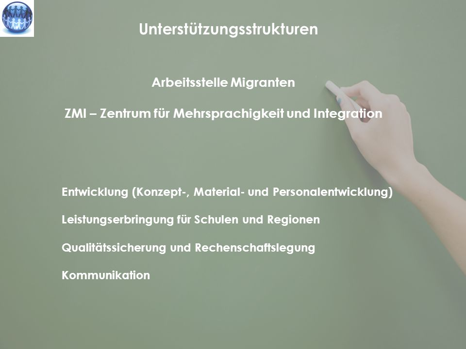 Unterstützungsstrukturen Arbeitsstelle Migranten ZMI – Zentrum für Mehrsprachigkeit und Integration Entwicklung (Konzept-, Material- und Personalentwi