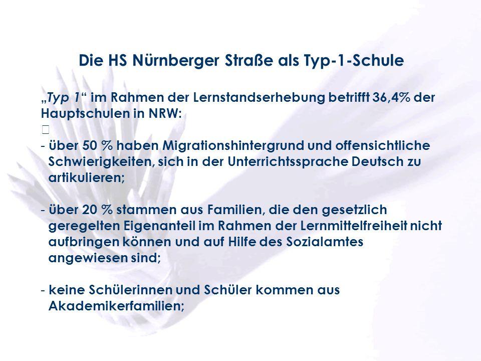 Die HS Nürnberger Straße als Typ-1-Schule Typ 1 im Rahmen der Lernstandserhebung betrifft 36,4% der Hauptschulen in NRW: - über 50 % haben Migrationsh