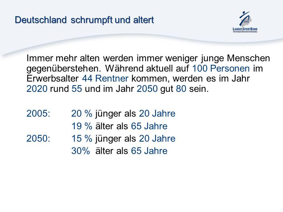 Deutschland schrumpft und altert Immer mehr alten werden immer weniger junge Menschen gegenüberstehen. Während aktuell auf 100 Personen im Erwerbsalte