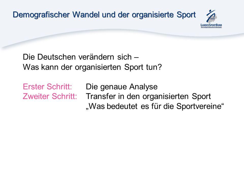 Demografischer Wandel und der organisierte Sport Die Deutschen verändern sich – Was kann der organisierten Sport tun? Erster Schritt: Die genaue Analy