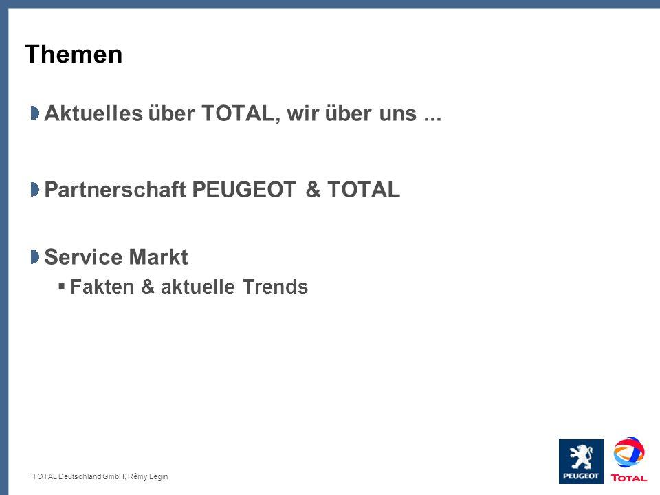 TOTAL Deutschland GmbH, Rémy Legin Themen Aktuelles über TOTAL, wir über uns... Partnerschaft PEUGEOT & TOTAL Service Markt Fakten & aktuelle Trends