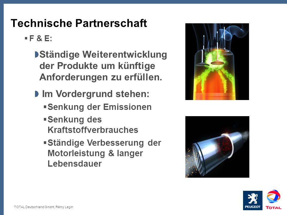 TOTAL Deutschland GmbH, Rémy Legin Technische Partnerschaft F & E: Ständige Weiterentwicklung der Produkte um künftige Anforderungen zu erfüllen. Im V