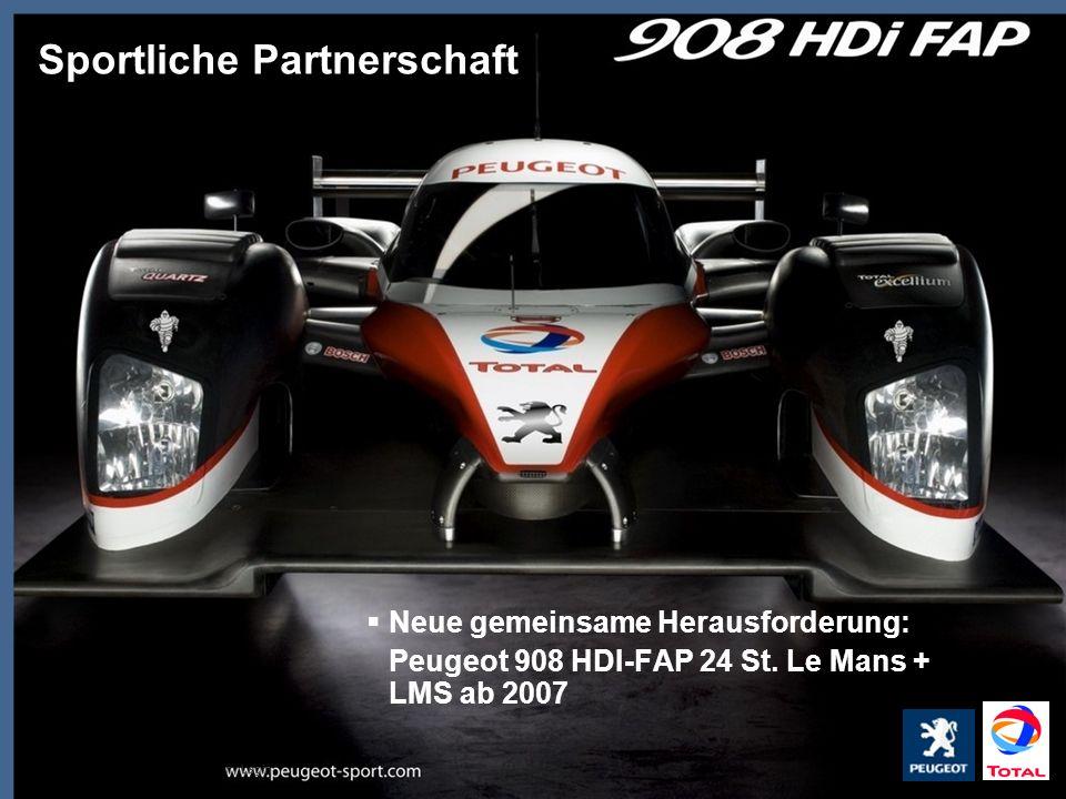 TOTAL Deutschland GmbH, Rémy Legin Neue gemeinsame Herausforderung: Peugeot 908 HDI-FAP 24 St. Le Mans + LMS ab 2007 Sportliche Partnerschaft