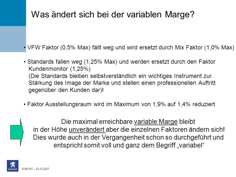 DVE/VST – 23.10.2007 Was ändert sich bei der variablen Marge? VFW Faktor (0,5% Max) fällt weg und wird ersetzt durch Mix Faktor (1,0% Max) Standards f
