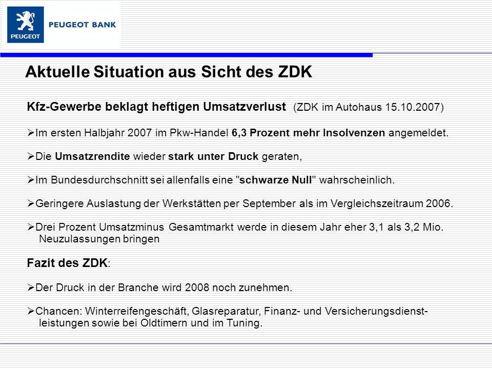 Kfz-Gewerbe beklagt heftigen Umsatzverlust (ZDK im Autohaus 15.10.2007) Im ersten Halbjahr 2007 im Pkw-Handel 6,3 Prozent mehr Insolvenzen angemeldet.