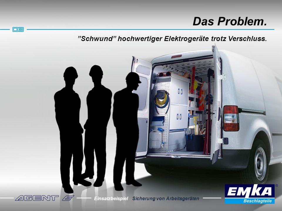 Das Problem. Schwund hochwertiger Elektrogeräte trotz Verschluss. Einsatzbeispiel Sicherung von Arbeitsgeräten