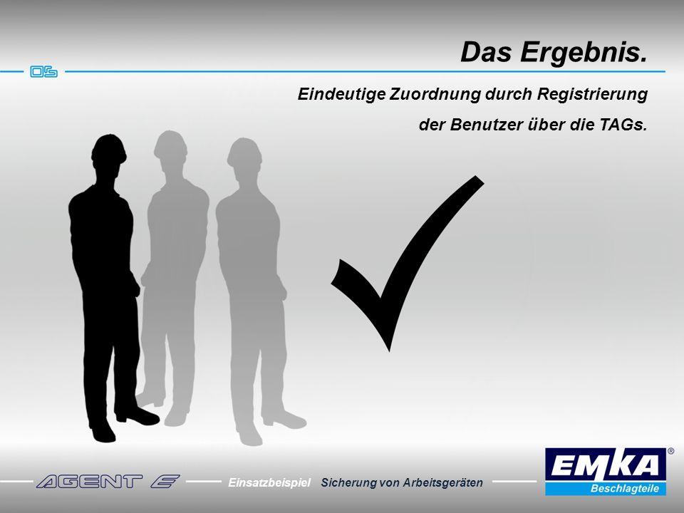 Einsatzbeispiel Sicherung von Arbeitsgeräten Das Ergebnis. Eindeutige Zuordnung durch Registrierung der Benutzer über die TAGs.