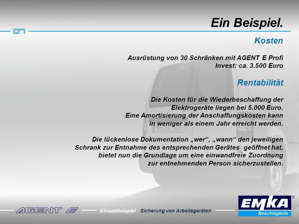 Ein Beispiel. Kosten Ausrüstung von 30 Schränken mit AGENT E Profi Invest: ca. 3.500 Euro Rentabilität Die Kosten für die Wiederbeschaffung der Elektr