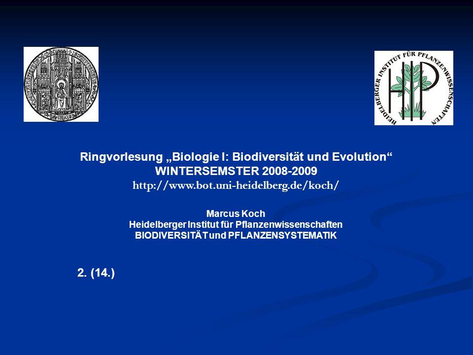 Ringvorlesung Biologie I: Biodiversität und Evolution WINTERSEMSTER 2008-2009 http://www.bot.uni-heidelberg.de/koch/ Marcus Koch Heidelberger Institut