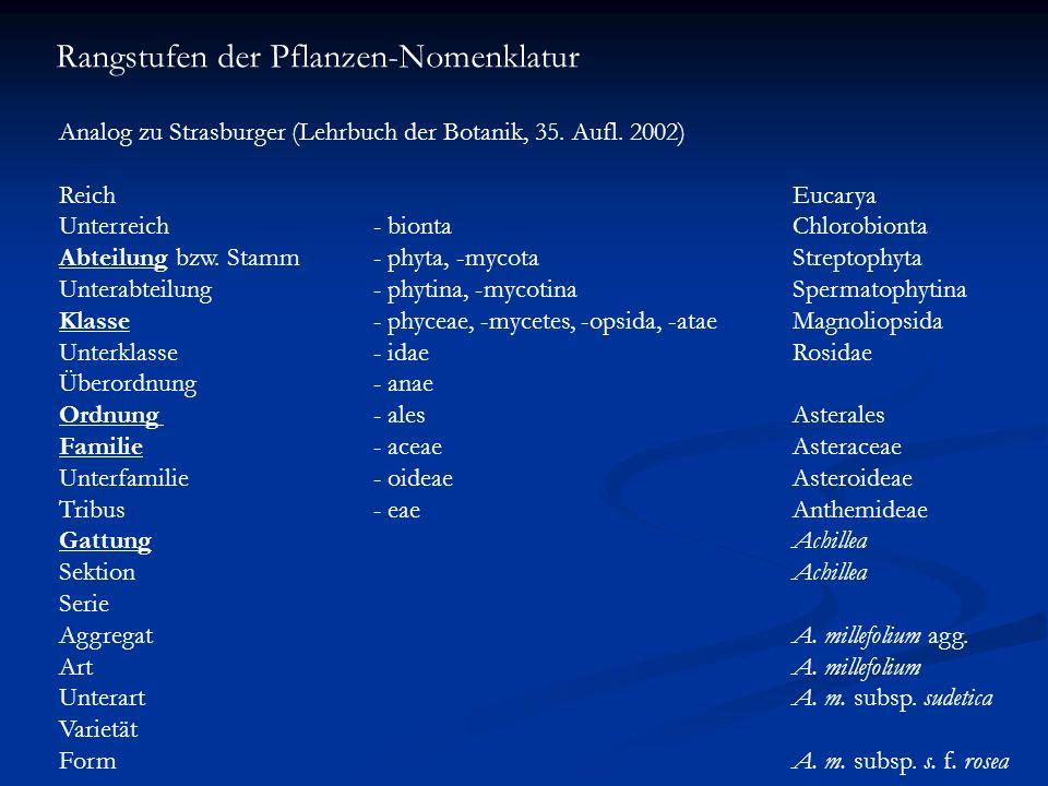 Rangstufen der Pflanzen-Nomenklatur Analog zu Strasburger (Lehrbuch der Botanik, 35. Aufl. 2002) ReichEucarya Unterreich- biontaChlorobionta Abteilung