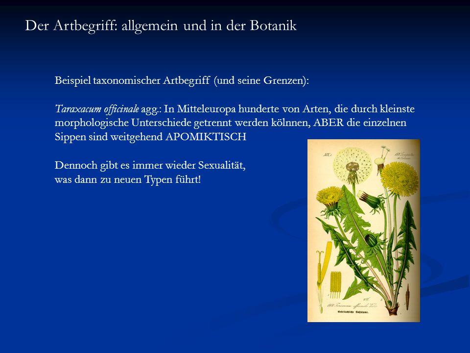 Der Artbegriff: allgemein und in der Botanik Beispiel taxonomischer Artbegriff (und seine Grenzen): Taraxacum officinale agg.: In Mitteleuropa hundert