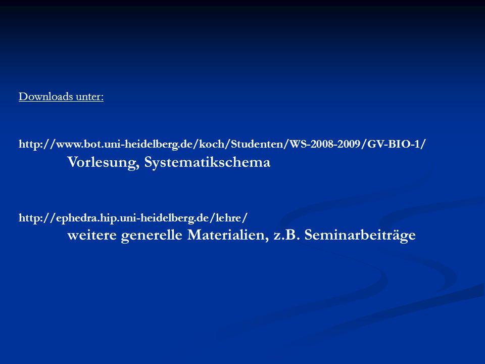 Downloads unter: http://www.bot.uni-heidelberg.de/koch/Studenten/WS-2008-2009/GV-BIO-1/ Vorlesung, Systematikschema http://ephedra.hip.uni-heidelberg.
