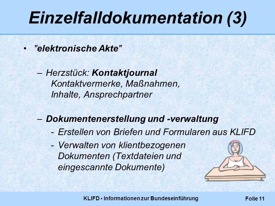 KLIFD - Informationen zur Bundeseinführung Folie 11 Einzelfalldokumentation (3)