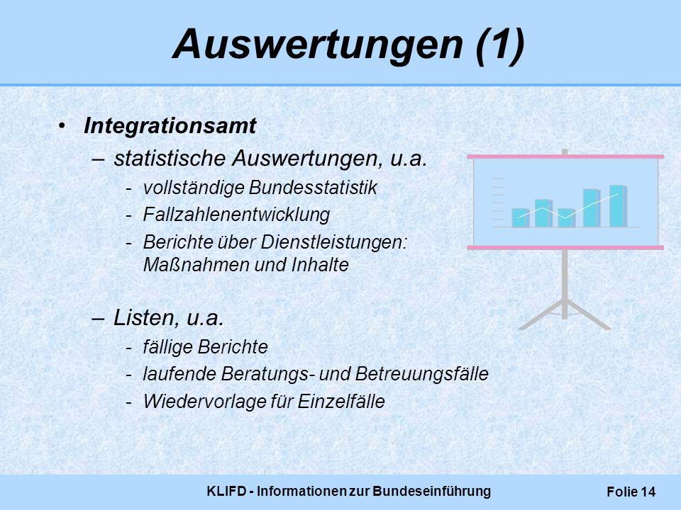 KLIFD - Informationen zur Bundeseinführung Folie 14 Auswertungen (1) Integrationsamt –statistische Auswertungen, u.a. -vollständige Bundesstatistik -F