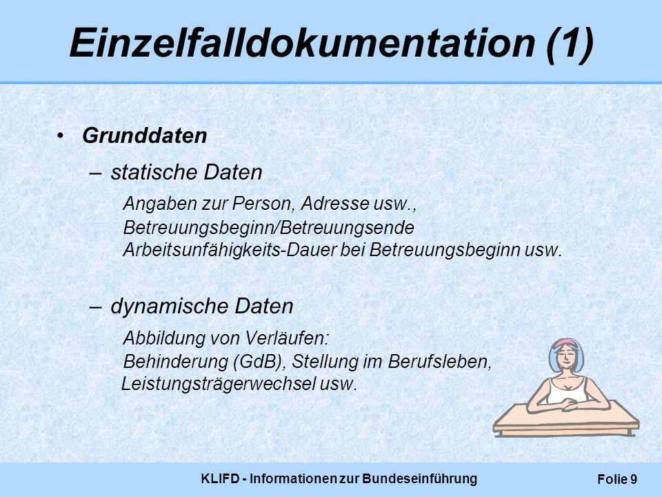 KLIFD - Informationen zur Bundeseinführung Folie 9 Einzelfalldokumentation (1) Grunddaten –statische Daten Angaben zur Person, Adresse usw., Betreuung