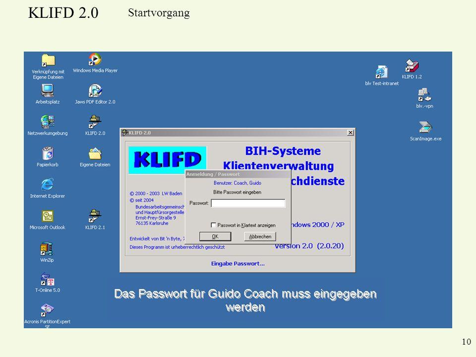 KLIFD 2.0 10 Startvorgang