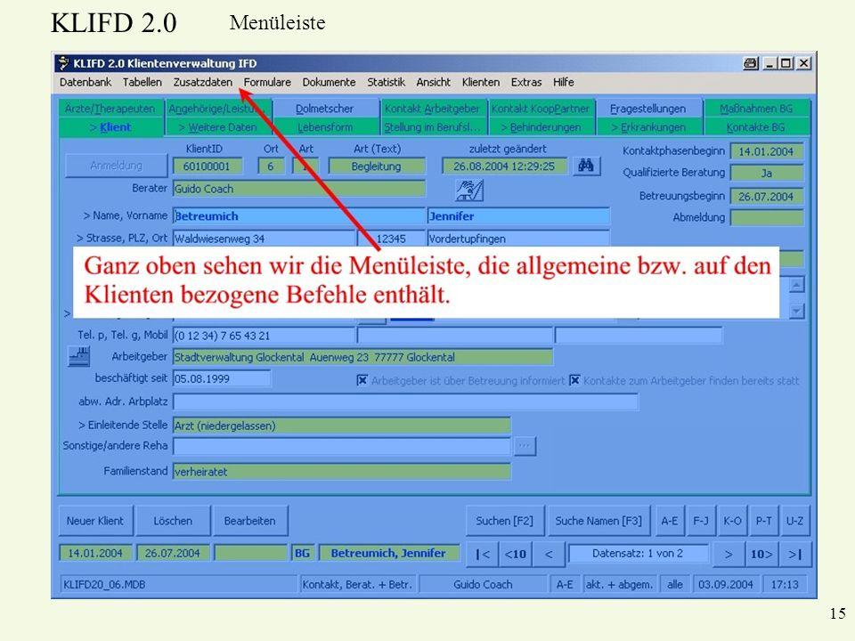 KLIFD 2.0 15 Menüleiste
