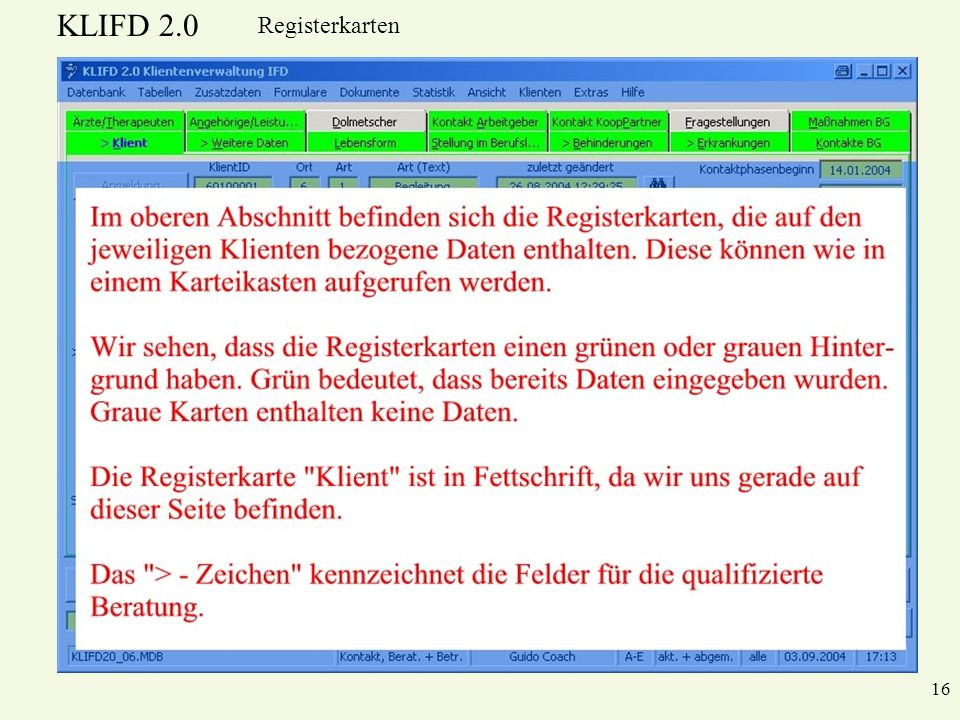 KLIFD 2.0 16 Registerkarten