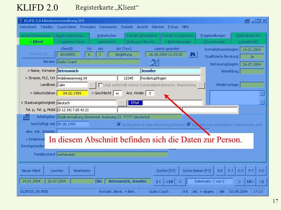 KLIFD 2.0 17 Registerkarte Klient